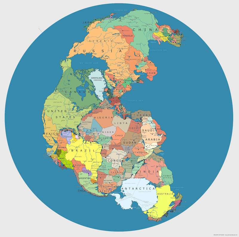 Pangea with Modern Day Borders Demarcated